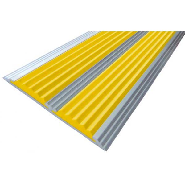 Алюминиевая Полоса  без покрытия с 2-мя противоскользящими вставками (70мм*5мм), 1,0 м