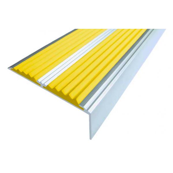 Алюминиевый угол-порог  без покрытия с 2-мя противоскользящими вставками (68мм*21,5мм), 1,0 м