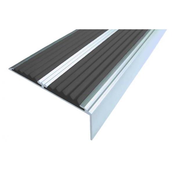 Алюминиевый угол-порог  без покрытия с двумя вставками 68 мм/5,5 мм/22,5 мм, 1,00 м