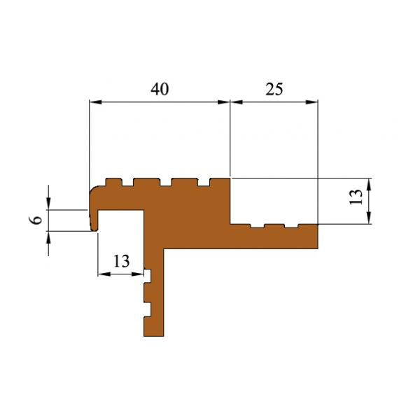 """Закладной профиль против скольжения """"Безопасный Шаг"""" (БШ-40), Бухта 20 м.п."""