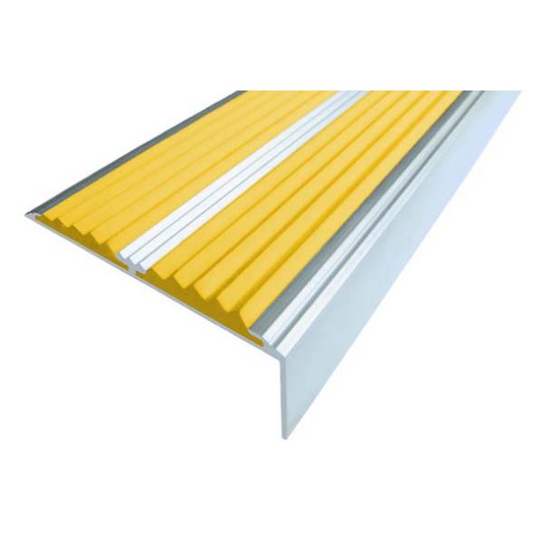 Алюминиевый угол-порог без покрытия  с двумя вставками 68 мм/5,5 мм/22,5 мм, 1,33 м