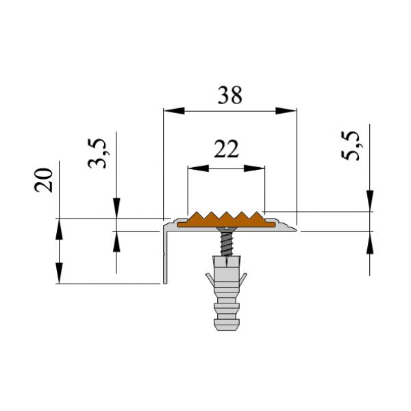 Анодированный алюминиевый угол Стандарт 2,70 м, 1 штука