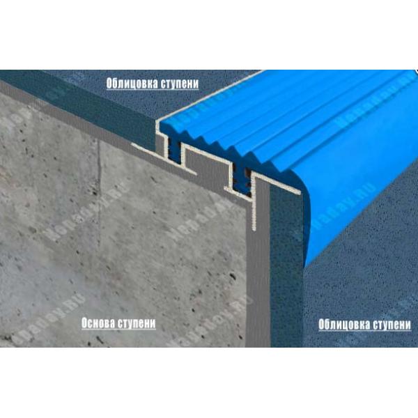 Алюминиевый закладной профиль SafeStep, 2,4 м