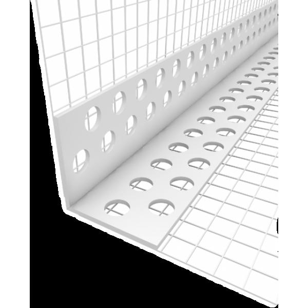 Профиль угловой ПВХ с армирующей сеткой, 2,5м (POLINET)