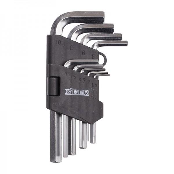 Набор инбусовых коротких ключей Biber 90503 CrV, 1.5-10 мм 9 шт.