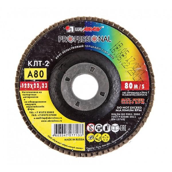 Диск лепестковый по металлу Луга (КЛТ тип 2) конический Р60 125х22 мм